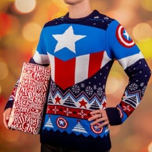 Marvel Captain America Christmas Sweater NWT XXL